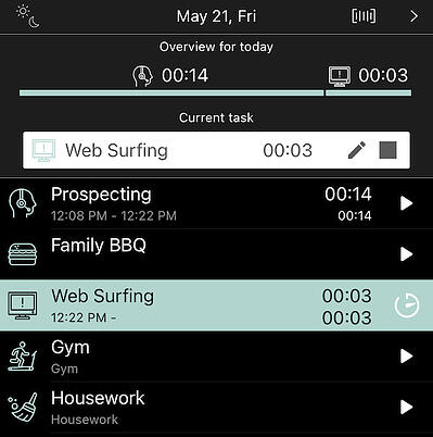 Easily switch between pre-created tasks on ATracker