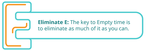 Eliminate E: The key to Empty time is to eliminate as much of it as you can.
