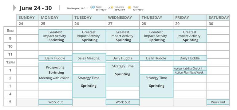 Productivity Calendar Plan