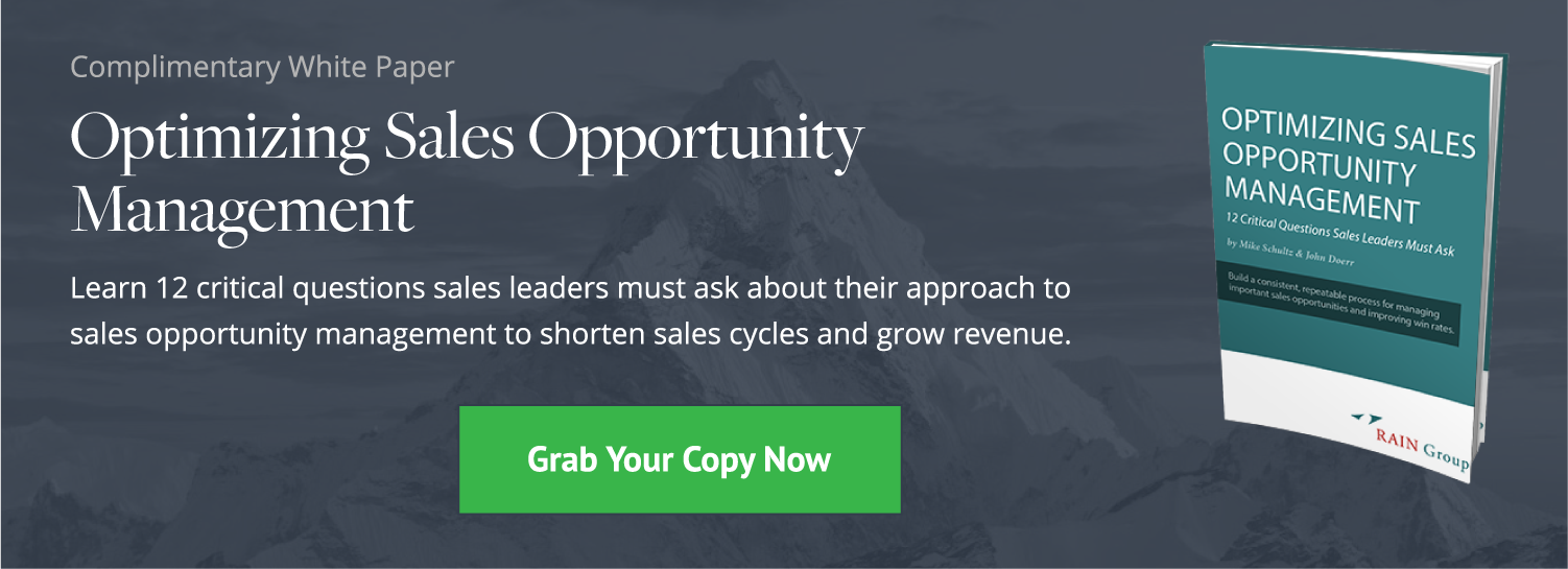 Click here to download our complimentary white paper, Optimizing Sales Opportunity Management.