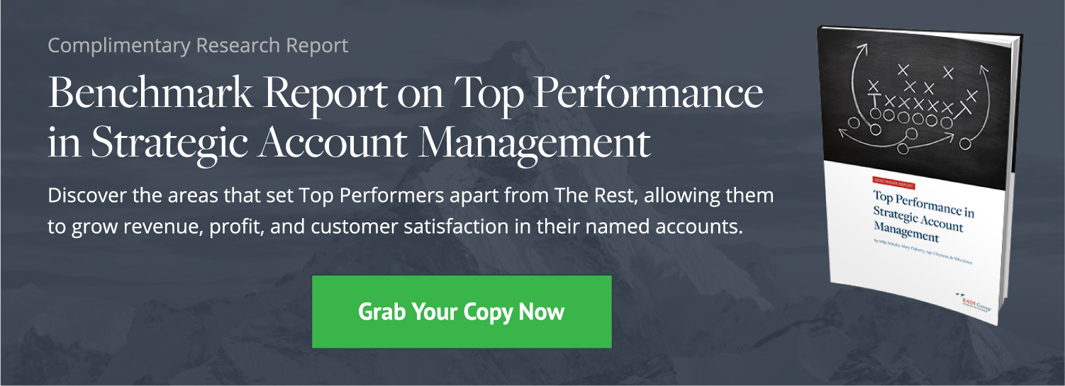 Click here to download the complimentary research report, the Benchmark Report on Top Performance in Strategic Account Management.
