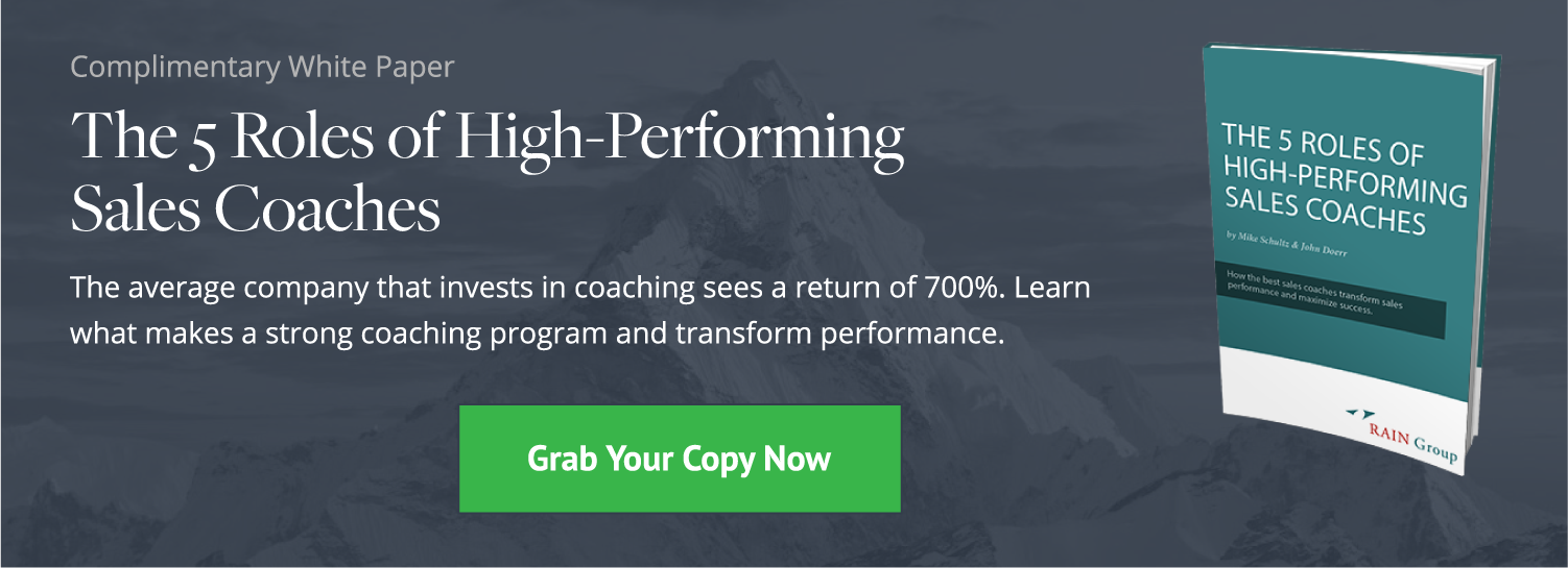 Click here to download our complimentary white paper, The 5 Roles of High-Performing Sales Coaches.